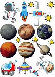 Вафельна картинка для кондитерських виробів Космос (аркуш А4) 5