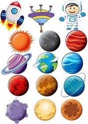 Вафельна картинка для кондитерських виробів Космос (аркуш А4) 6