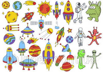 Вафельна картинка для кондитерських виробів Космос (аркуш А4) 7