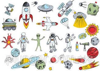 Вафельна картинка для кондитерських виробів Космос (аркуш А4) 8