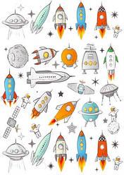 Вафельна картинка для кондитерських виробів Космос (аркуш А4) 9