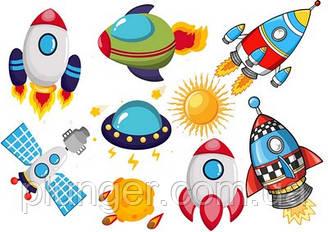 Вафельна картинка для кондитерських виробів Космос (аркуш А4) 11