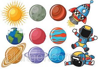 Вафельна картинка для кондитерських виробів Космос (аркуш А4) 12