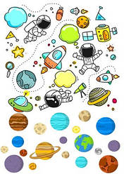 Вафельна картинка для кондитерських виробів Космос (аркуш А4) 13