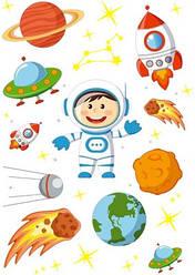 Вафельна картинка для кондитерських виробів Космос (аркуш А4) 14