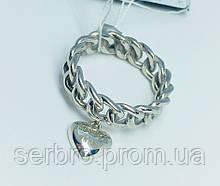 Об'ємне кільце в сріблі з зеленим каменем Наталі