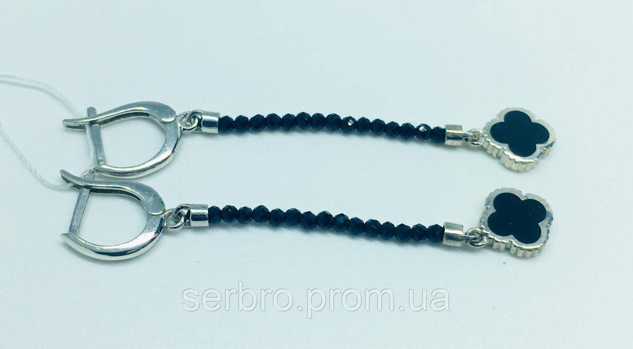 Серебряные серьги с эмалью и ониксом Клевер