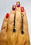 Серебряные серьги с эмалью и ониксом Клевер, фото 4