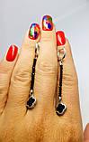 Серебряные серьги с эмалью и ониксом Клевер, фото 5