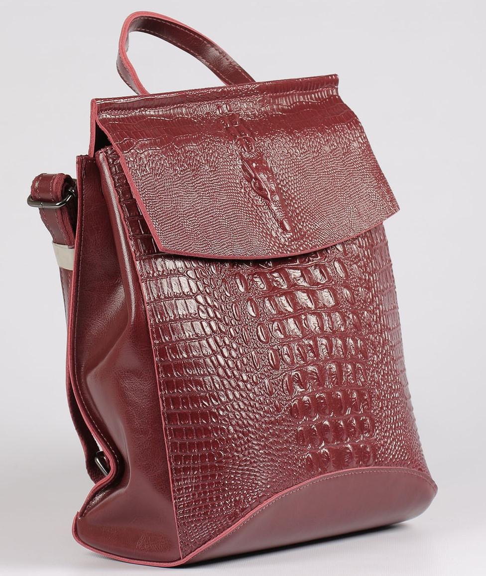 Жіночий бордовий рюкзак-сумка з натуральної шкіри з тисненням під шкіру крокодила Tiding Bag - 26552