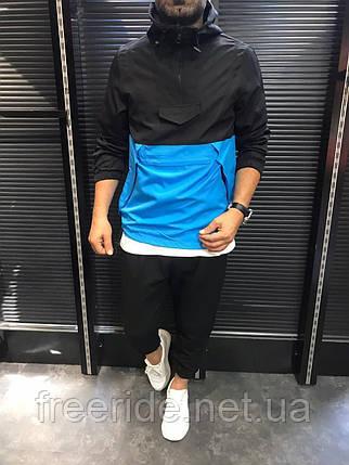 Вітровка анорак чорний з синім чоловічий, куртки Туреччина (демісезонний весна - осінь) куртка з капюшоном, фото 2