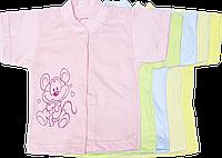 Кофточка с коротким рукавом, однотонная, с принтом, тонкий хлопок, ТМ Алекс, р. 56,62,68,74,86