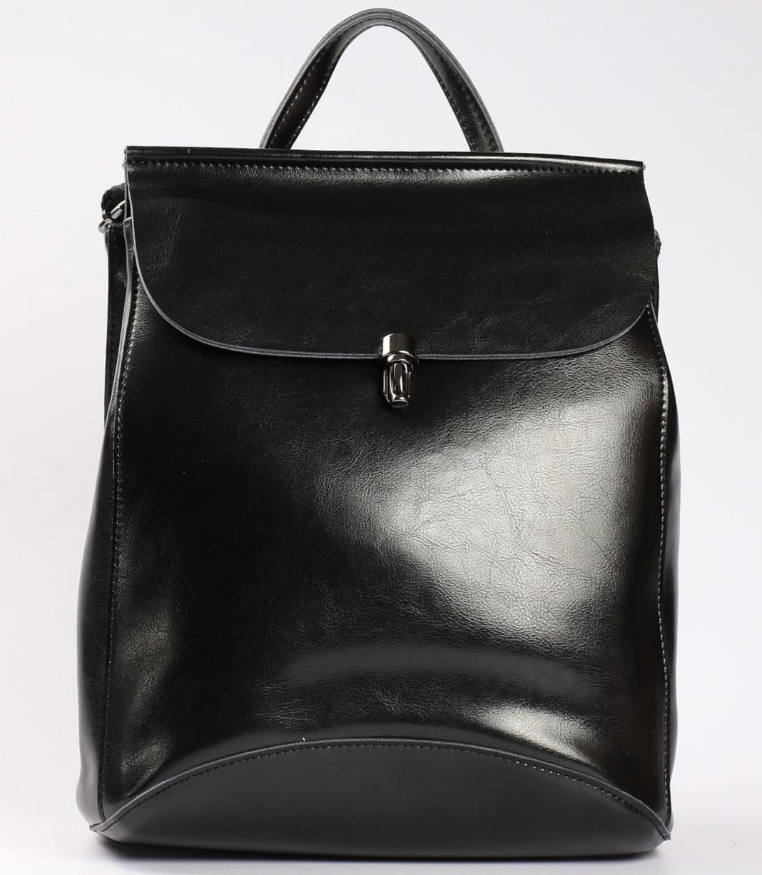 Женский черный городской рюкзак из натуральной кожи Tiding Bag - 23228
