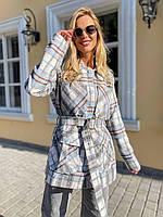 Сорочка жіноча тепла байкова на підкладці з поясом і кишенями в трендову клітку Rdv784