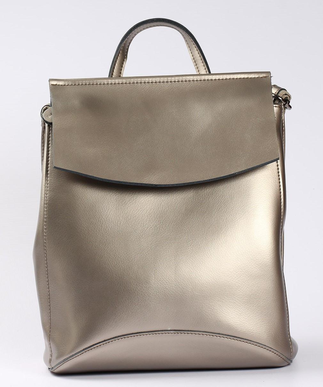 Женский серебристый городской рюкзак из натуральной кожи Tiding Bag - 24994