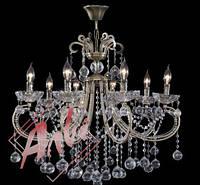 Хрустальная люстра для зала, спальни на 8 лампочек 2355/8 бронза