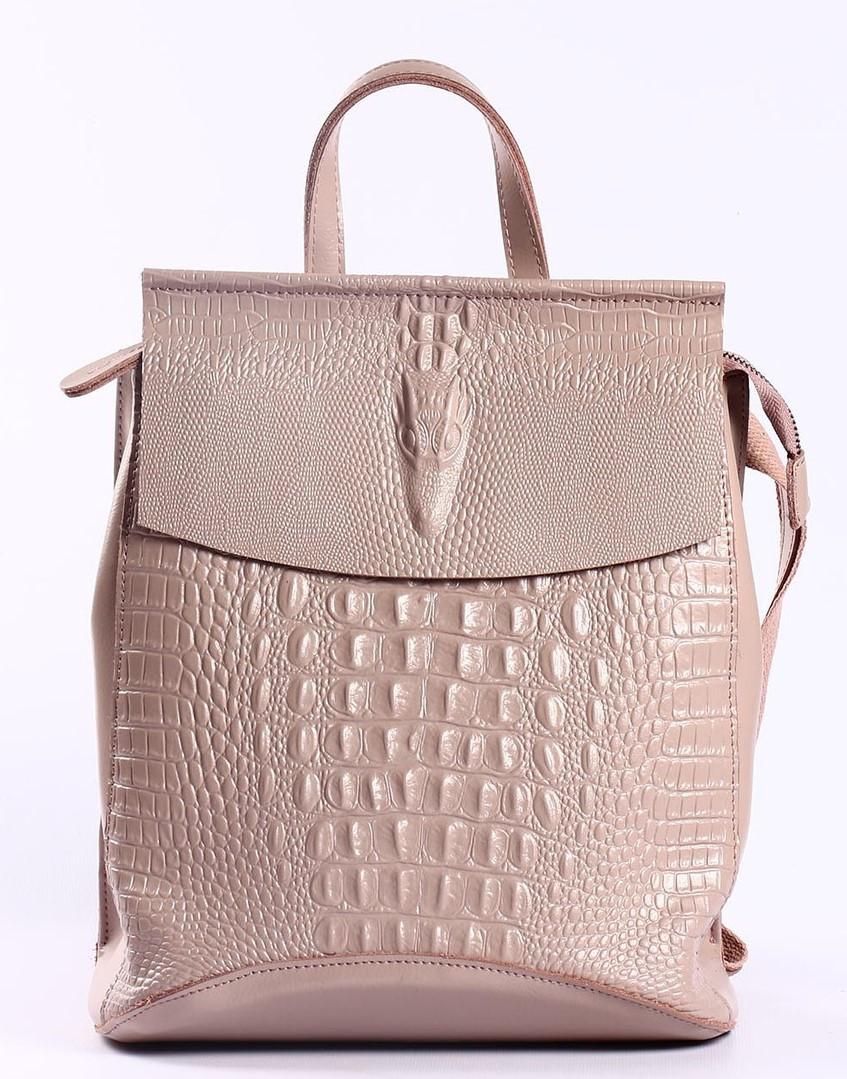 Женский пудровый рюкзак-сумка из натуральной кожи с тиснением под кожу крокодила Tiding Bag  - 44343