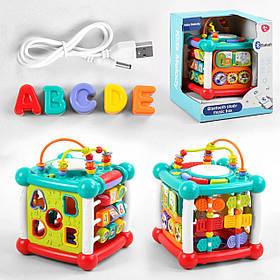 Інтерактивна розвиваюча іграшка «Музичний куб» 9933 (світло і звук, англ.озвучування, USB зарядка)