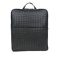 Городской рюкзак мужской кожаный чёрный большой