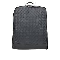 Большой мужской рюкзак черный кожаный