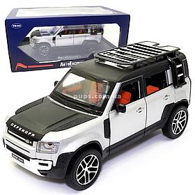 Машинка металлическая Land Rover Defender «AutoExpert» Дефендер джип серый звук свет 19*7*9 см (GT-1008)