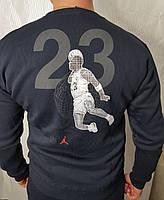 Мужской спортивный костюм Jordan без капюшона тёмно-синий зимний теплый на флисе