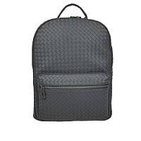 Модный мужской кожаный рюкзак темно-серого цвета