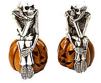 Ліхтар скелет мислитель на гарбузі 30*13см кераміка (2 шт)