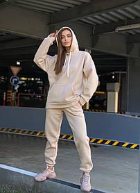 Жіночий костюм на флісі худі з капюшоном та штани на гумці