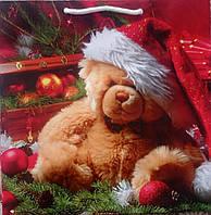 Новогодний  пакет подарочный бумажный квадрат 23х24х10