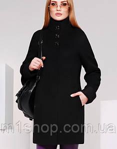 Женское демисезонное черное пальто по фигуре (8587 xw)
