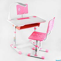 Парта со стульчиком C 44557 розовая лампа USB, регулируемая высота и угол наклона столешницы