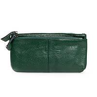 Женский кожаный кошелек-косметичка A-00276-5 green.Купить женский кожаный кошелек.