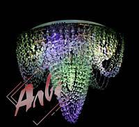 Люстра хрустальная для зала, спальни на 9 лампочек с подсветкой на пульте управления 1911/9