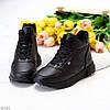 Зимние черные женские спортивные ботинки кроссовки на молнии + шнуровка, фото 2