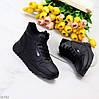 Зимние черные женские спортивные ботинки кроссовки на молнии + шнуровка, фото 7