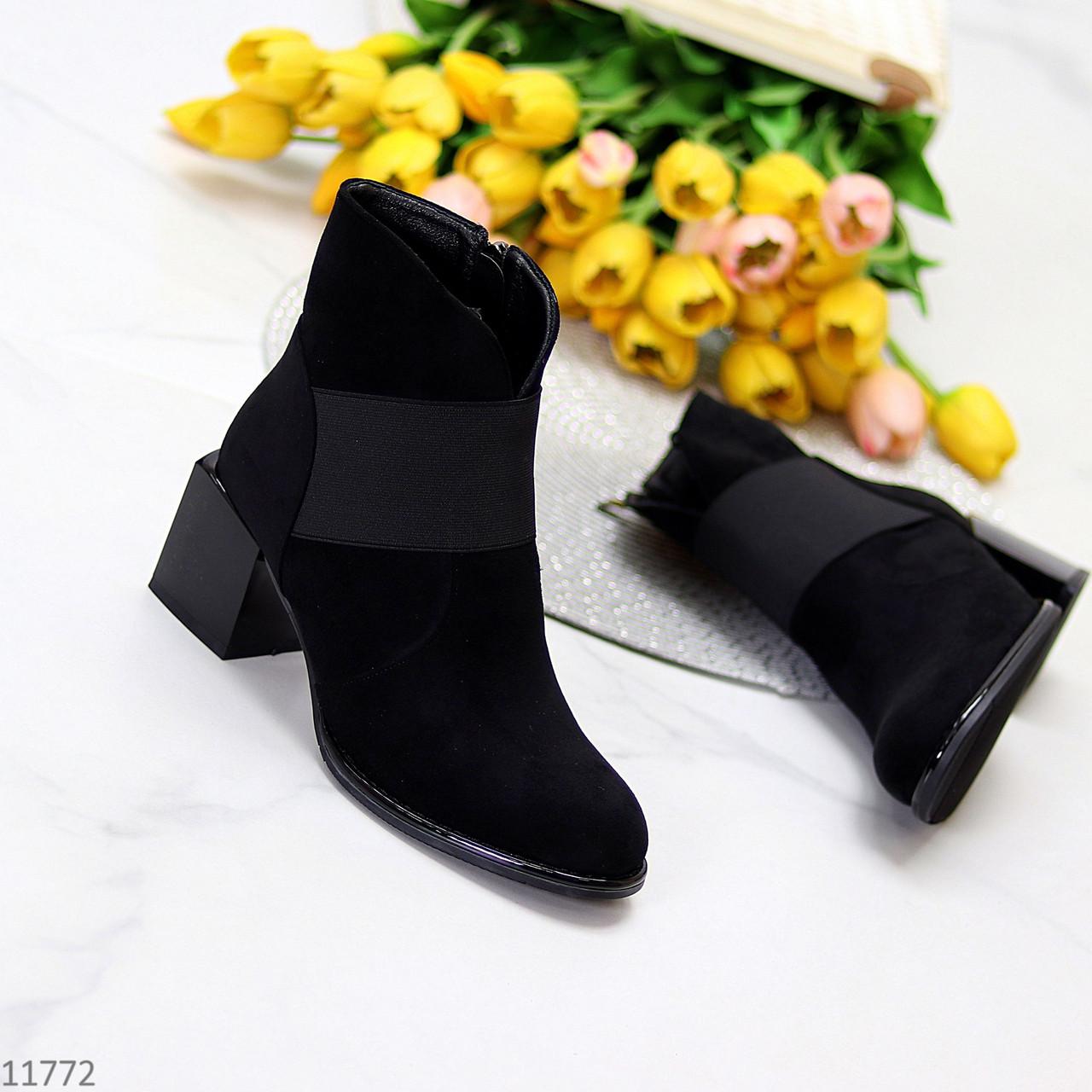 Удобные черные замшевые ботинки ботильоны на среднем фигурном каблуке