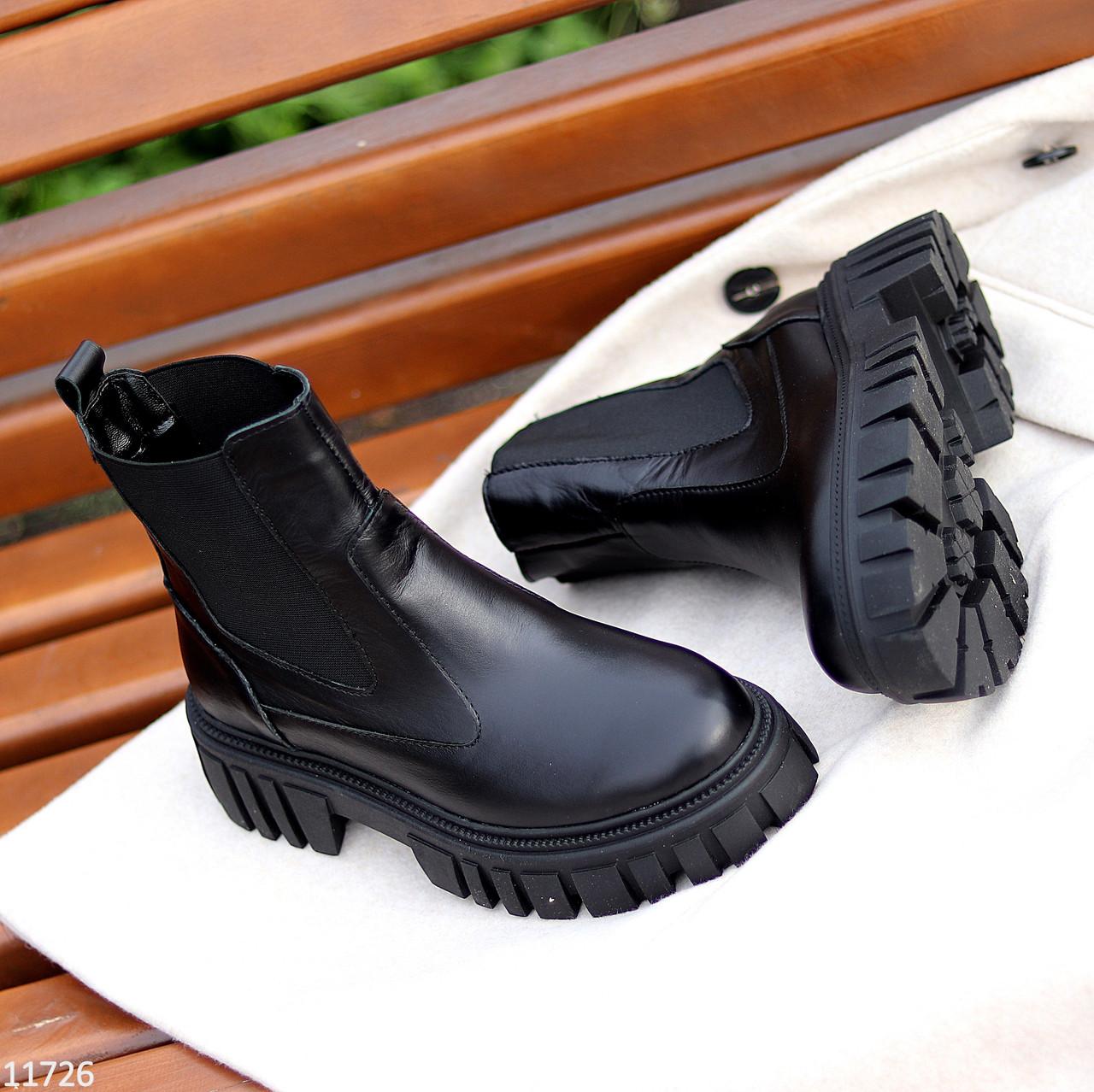 Натуральна шкіра стильні чорні шкіряні жіночі черевики челсі