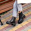 Натуральна шкіра стильні чорні шкіряні жіночі черевики челсі, фото 4