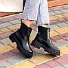 Натуральна шкіра стильні чорні шкіряні жіночі черевики челсі, фото 5
