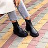 Натуральна шкіра стильні чорні шкіряні жіночі черевики челсі, фото 6