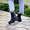Натуральна шкіра стильні чорні шкіряні жіночі черевики челсі, фото 9
