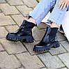 Натуральна шкіра стильні чорні шкіряні жіночі черевики челсі, фото 7