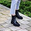 Натуральна шкіра стильні чорні шкіряні жіночі черевики челсі, фото 8
