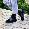 Натуральна шкіра стильні чорні шкіряні жіночі черевики челсі, фото 10