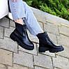 Натуральна шкіра стильні чорні шкіряні жіночі черевики челсі, фото 2