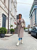 Актуальное на осень женское пальто под поясок - рукав спущен в трендовом принте гусиная лапка, фото 1