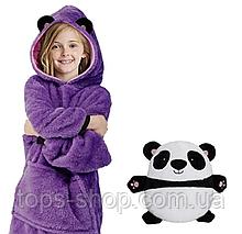 Детская Флисовая Толстовка плед Мягкая Игрушка Балахон с Капюшоном 2в1 для Мальчика Девочки Панда