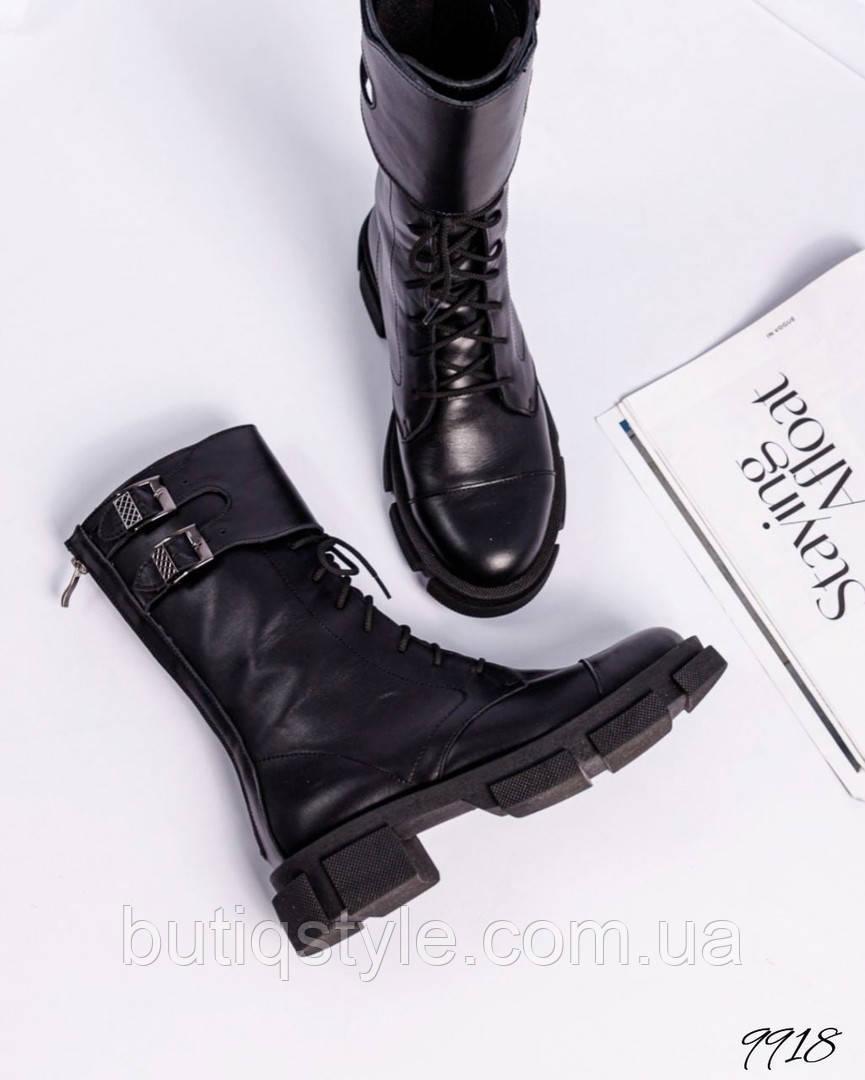 Жіночі чорні черевики натуральна шкіра на шнурівці Демі