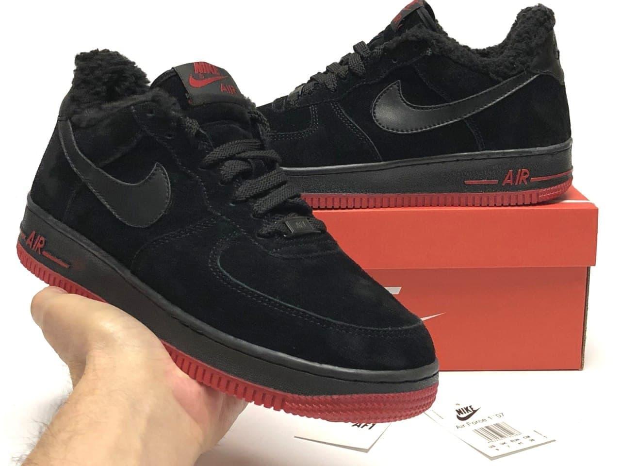 Чоловічі зимові кросівки Nike Air Force (Чорний) К12351 повсякденна дихаюча взуття на хутрі